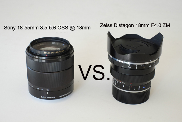 Sony 18-55mm F3.5-5.6 OSS at 18mm vs. Zeiss Distagon 18mm F4.0 ZM