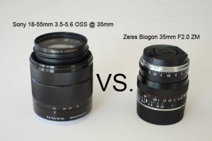 Sony 18-55mm F3.5 OSS vs. Zeiss Biogon 35mm F2.0 ZM