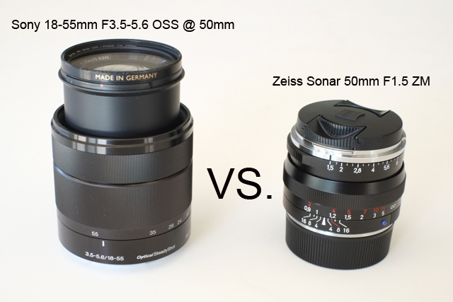 Sony 18-55mm F3.5-5.6 OSS @ 50mm vs. Zeiss Sonar 50mm F1.5 ZM