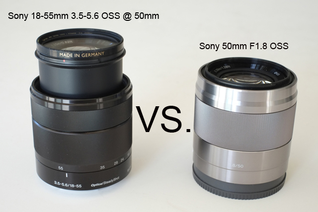 Sony 18-55mm F3.5-5.6 OSS @ 50mm vs. Sony 50mm F1.8 OSS